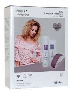 KAARAL Набор тонизирующий для волос (шампунь 300 мл, кондиционер 250 мл, щетка для волос) / Purify Energy