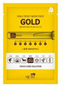 Маска тканевая c золотом Mijin CARE DAILY DEW MASK PACK GOLD 25гр