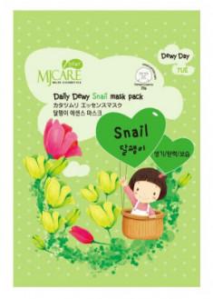 Маска тканевая с экстрактом слизи улитки Mijin Care Daily Dewy Snail mask pack 25 гр