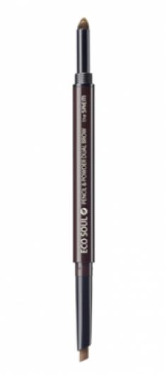 Карандаш-пудра для бровей THE SAEM Eco Soul Pencil&Powder Dual Brow 04 Medium Brown 0,5гр*0,3гр
