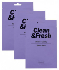 Набор тканевых масок для выравнивания тона и рельефа лица EUNYUL CLEAN & FRESH REFINE-CLARIFY SHEET MASK 22мл*3